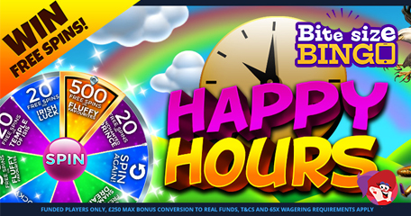 Bite Size Bingo Reminder: Happy Hour is Approaching! Don't Miss Your Chance to Bag Bonus Spins