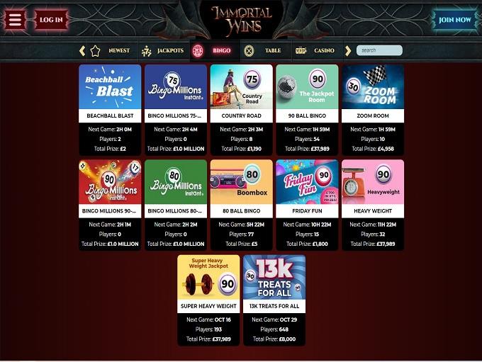 Immortal Wins Bingo Games