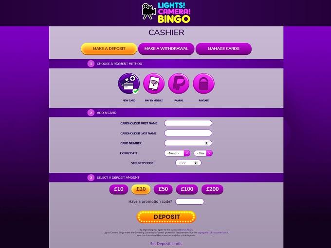 Lights Camera Bingo Cashier