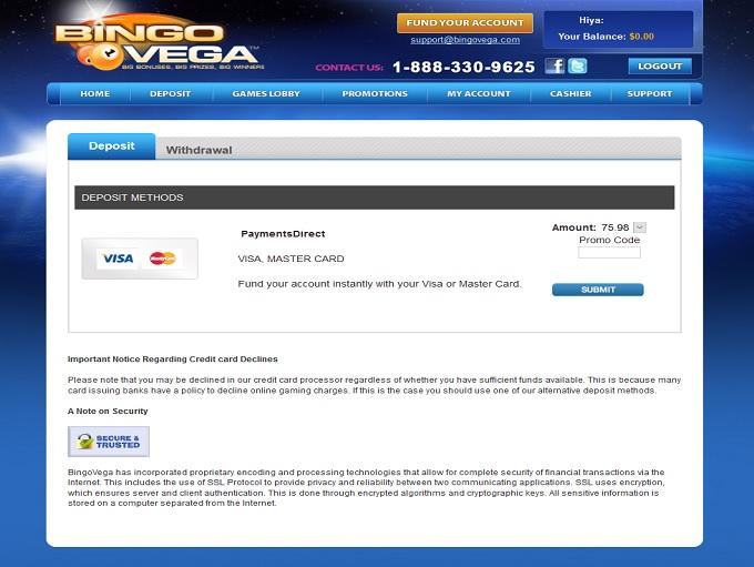 Bingo Vega Cashier