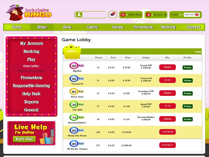Lucky Ladies Bingo Lobby