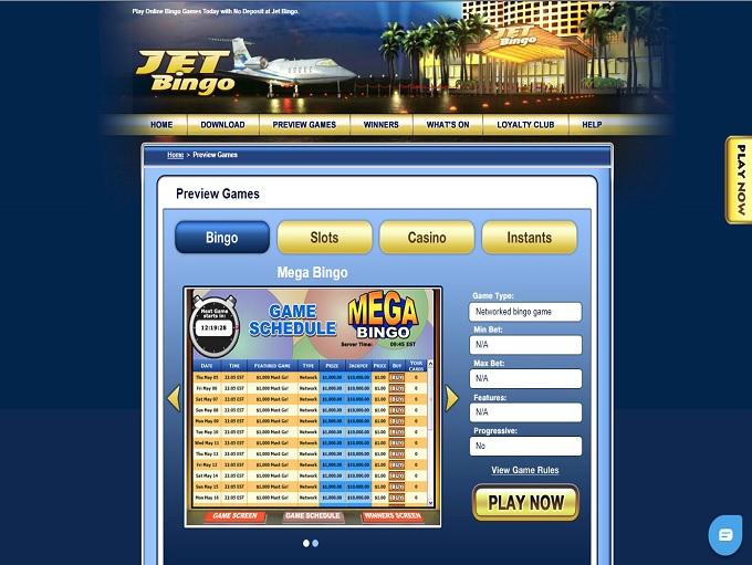 Jet Bingo Lobby