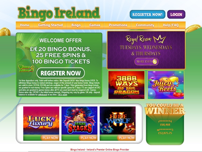 Bingo Ireland Homepage
