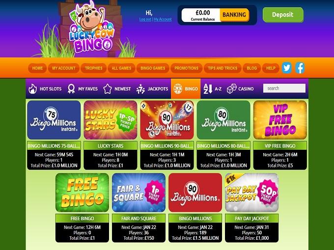 LuckyCow Bingo Lobby
