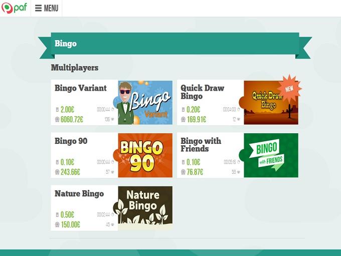 PAF Bingo Lobby