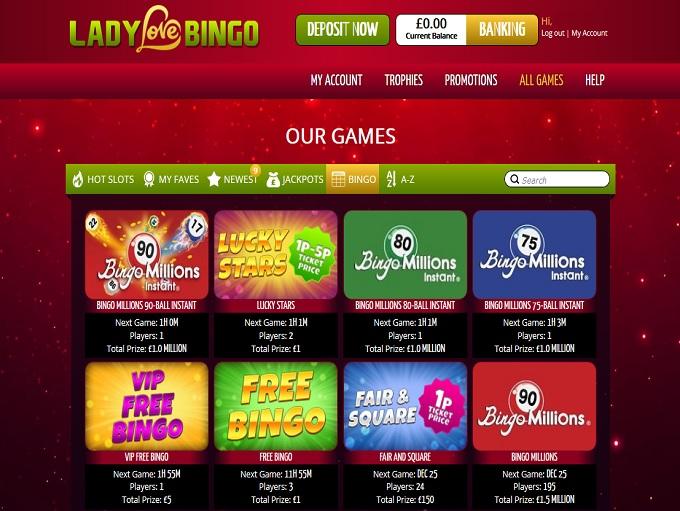 Lady Love Bingo Lobby