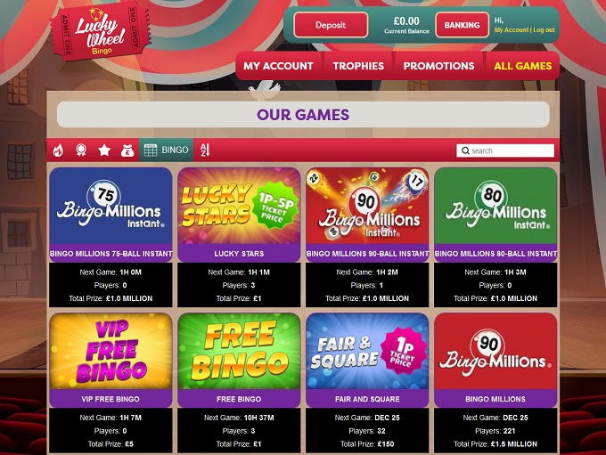 Lucky Wheel Bingo Lobby
