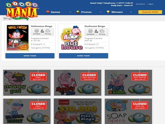 Bingo Mania Lobby