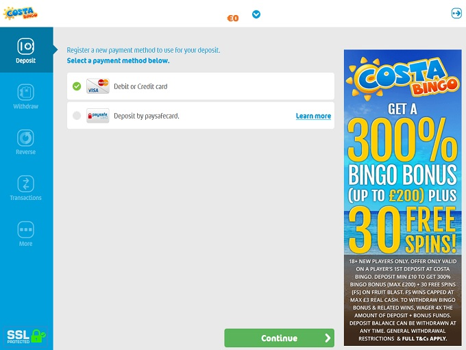 Costa Bingo Cashier